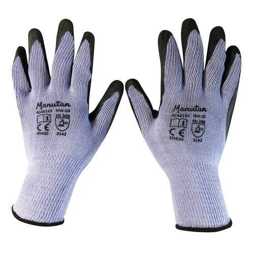 Rękawice nylonowe Manutan częściowo powlekane lateksem, szare