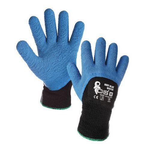 Zimowe rękawice akrylowe CXS częściowo powlekane lateksem, niebieskie/czarne