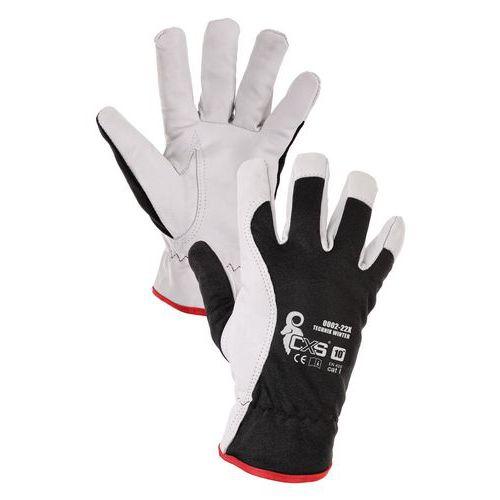 Rękawice zimowe skórzano-tekstylne CXS Technik Winter, czarno/białe