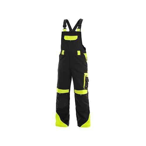 Męskie spodnie monterskie CXS Sirius Brighton z napierśnikiem i elementami odblaskowymi, czarne/żółte