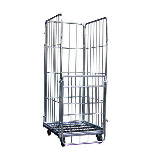 Kontener jezdny ze ściankami z kratownicy i z możliwością układania w stosy, do 400 kg
