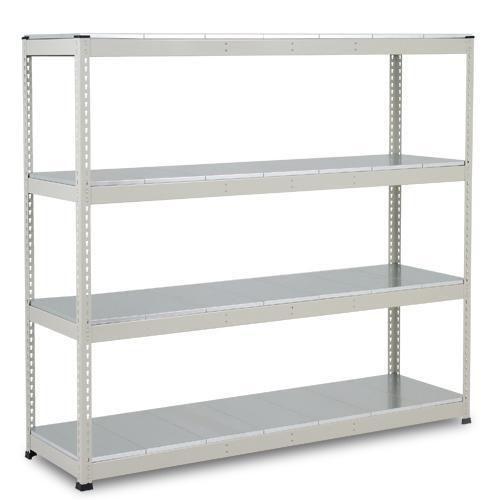 Regały metalowe Rapid 1, 198 x 213,4 x 45,5 - 91,5 cm, 1 720 kg, 4 półki z paneli stalowych, srebrne