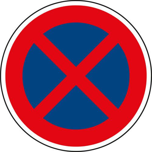 Znak drogowy Zakaz zatrzymywania (B28)