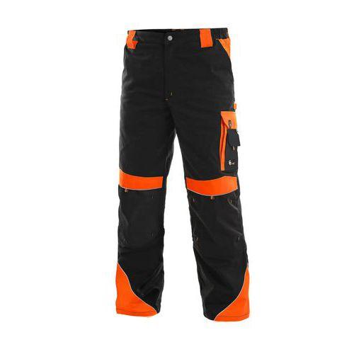 Męskie spodnie monterskie CXS Sirius Brighton z elementami odblaskowymi, czarne/pomarańczowe