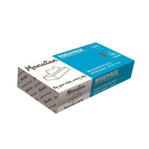 Chusteczki papierowe Manutan 2-warstwowe, 100 listków, białe