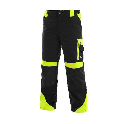 Męskie spodnie monterskie CXS Sirius Brighton z elementami odblaskowymi, czarne/żółte