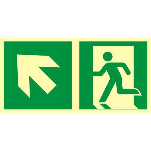 Kierunek do wyjścia ewakuacyjnego – w górę w lewo
