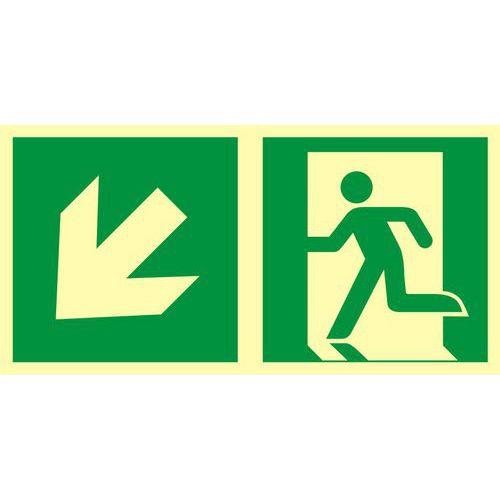 Kierunek do wyjścia ewakuacyjnego – w dół w lewo