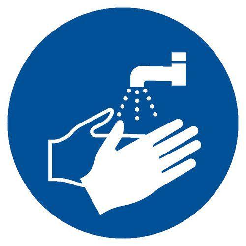 Nakaz mycia rąk 5,25 X 5,25 nieświec. płyta sztywna PCV