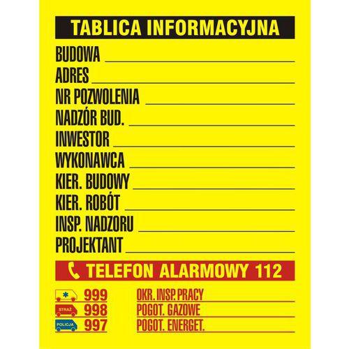 Budowlana tablica informacyjna 3 kolory 49,5 X 65 nieświec. folia