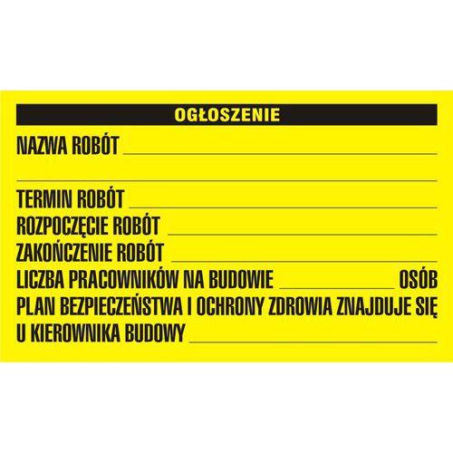 Budowlana tablica informacyjna - ogłoszenie