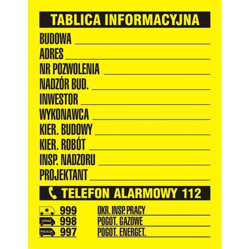 Budowlana tablica informacyjna 1 kolor 49,5 X 65 nieświec. płyta sztywna PCV