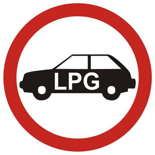 Zakaz wjazdu pojazdów napędzanych gazem (do garaży podziemnych i na parkingi o szczególnym przeznacz.)