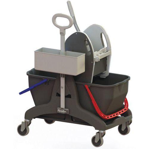 Wózek do sprzątania Manutan z wyżymaczką dźwigniową, pojemność 2 x 15 l