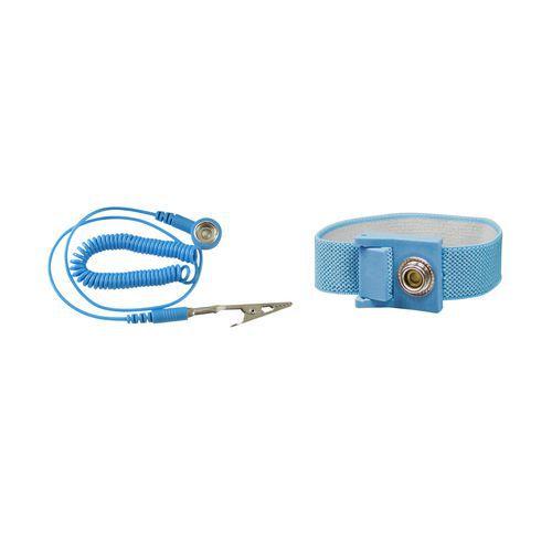 Opaska nadgarstkowa ESD, niebieska, z przewodem 1,8m
