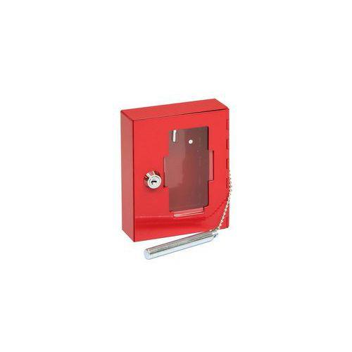 Metalowa szafka przeciwpożarowa z szybą i młotkiem