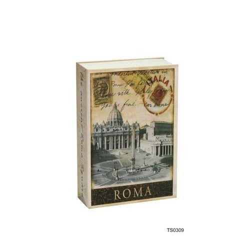 Metalowa skrzynka zabezpieczająca w kształcie książki Roma