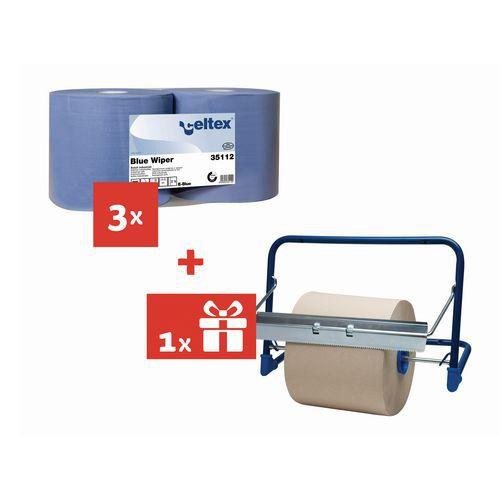 Przemysłowe ściereczki papierowe Celtex Blue Wiper 6-warstwowe, 970 listków, 2 szt. + Uchwyt do ściany GRATIS