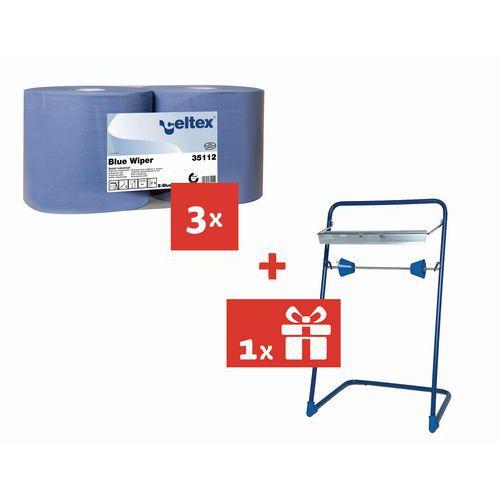 Przemysłowe ściereczki papierowe Celtex Blue Wiper 2-warstwowe, 970 listków, 6 szt. + Stojak GRATIS