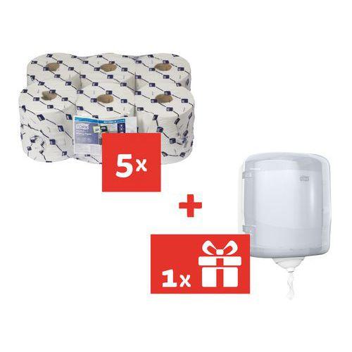 Ręczniki papierowe Tork Reflex 1-warstwowe, 857 płatków, białe, 30 szt. + Pojemnik Tork Reflex GRATIS