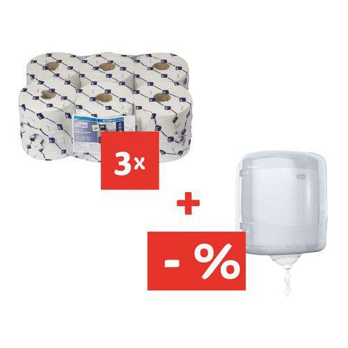 Ręczniki papierowe Tork Reflex 1-warstwowe, 857 płatków, białe, 18 szt. + Pojemnik Tork Reflex za 25 zł