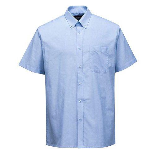 Łatwa w prasowaniu koszula Oxford z krótkimi rękawami, niebieski