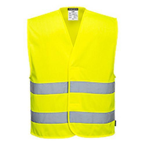 Kamizelka ostrzegawcza siatkowa z dwoma taśmami, żółty