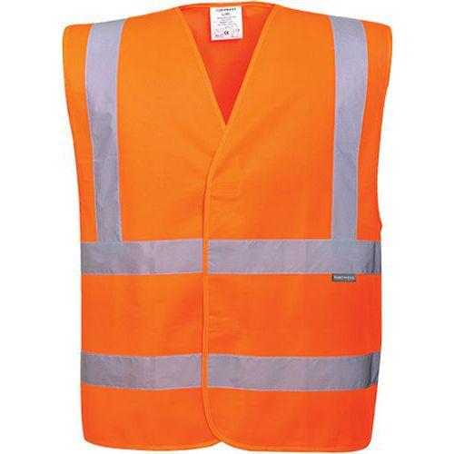 Kamizelka ostrzegawcza z taśmami pionowymi i poziomymi, pomarańczowy