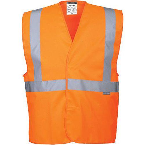 Kamizelka ostrzegawcza z taśmą poziomą i pionową, pomarańczowy