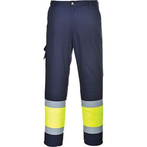 Spodnie bojówki dwukolorowe z elementem odblaskowym, niebieski/żółty