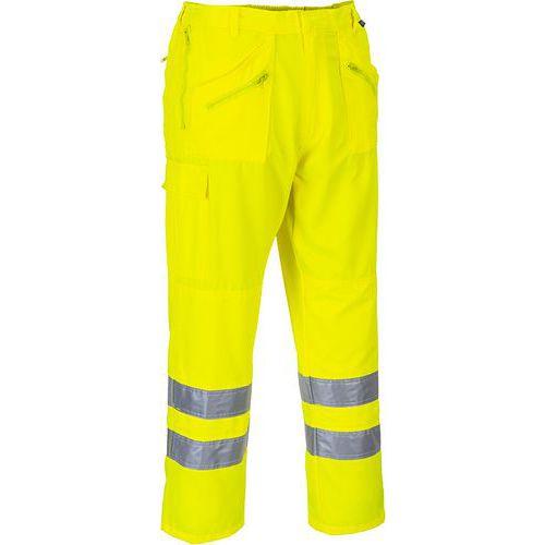 Spodnie bojówki ostrzegawcze, żółty, przedłużony