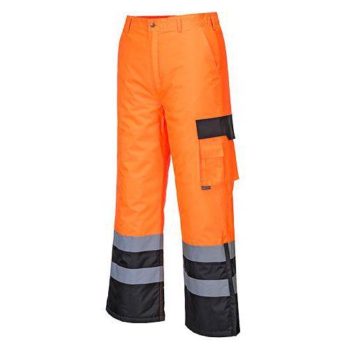 Dwukolorowe spodnie ostrzegawcze ocieplane, czarny/pomarańczowy