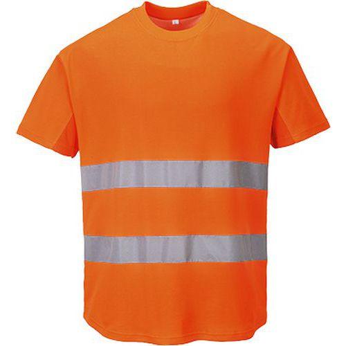 Ostrzegawczy T-shirt z panelami z siatki, pomarańczowy