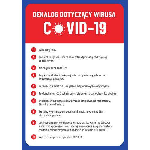 Dekalog zasad ochrony przed zakażeniem wirusem, tworzywo sztuczne, 297 x 210 x 0,5 mm, A4