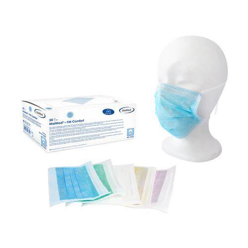 Maseczki ochronne 3 -warstwowe, na gumce,  niebieskie, opakowanie 50 szt