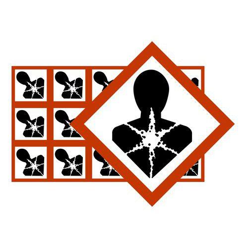 Piktogram Substancje niebezpieczne dla zdrowia GHS08, 25mm x 25 mm, folia, 15 szt w arkuszu, 10 arkuszy